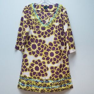 BODEN | PURPLE, YELLOW & WHITE COTTON DRESS, SZ 10